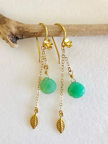 Chrysoprase Dangle Earrings, Apple Green Chrysoprase, Flower Earrings, Vermeil Blossoms Leaves, Delicate Chain Dangle Earrings, Bridal. - Gold Vermeil Leaf Earrings