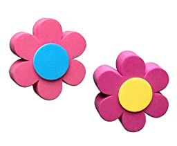 Tenna Tops 2 Pc Daisy Flower Car Antenna Toppers / Antenna Ball / Mirror Dangler - Gift Set