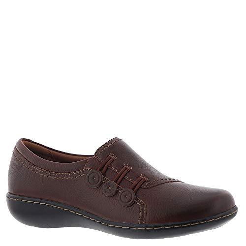 CLARKS Women's Ashland Effie Loafer, Dark Tan Leather, 80 M US