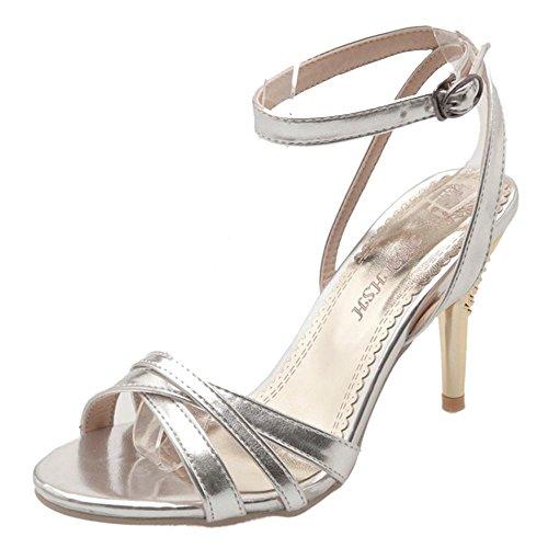 de Femmes Soiree 64 Bride Silver Sandales Mode TAOFFEN Cheville OwdXOf