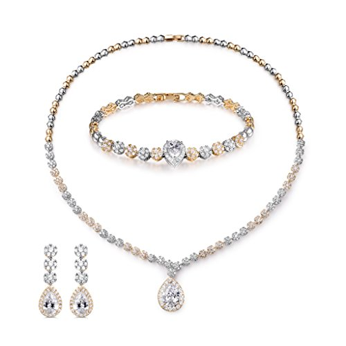 (MASOP Womens Bridal Wedding Jewelry Set Cubic Zircon Necklace Bracelet Earrings White and Gold Plated)