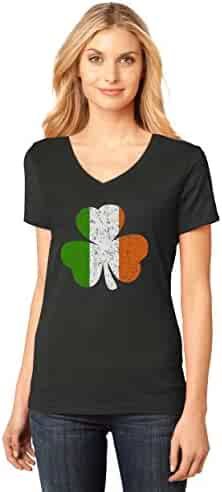Ireland Shamrock - Distressed Irish Flag Clover ST. Patrick's Day Women's Fitted V-Neck T-Shirt Large Black