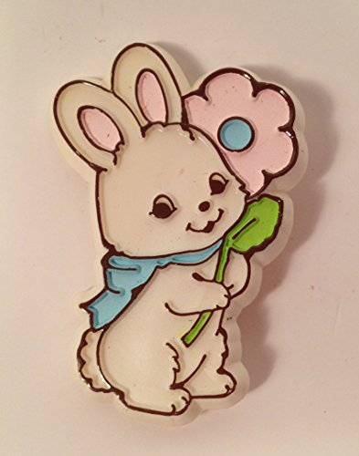 Hallmark BUNNY with Pink FLOWER Spring Easter LAPEL PIN Vintage 1979 - Lapel Pin Signed