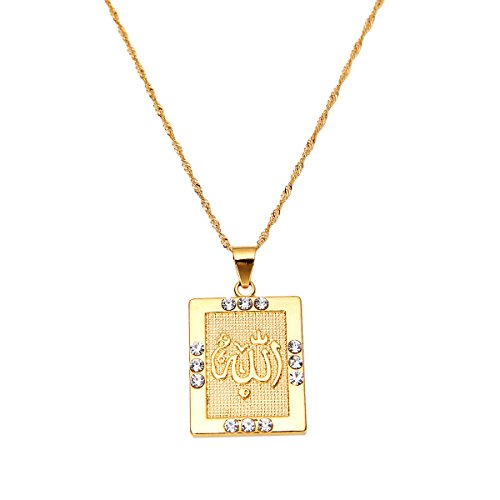 Platinum 24K New Islamic Allah Pendant Charms Choker Necklace Religious Muslim Jewelry (Gold (24k Gold Pendant Charm)