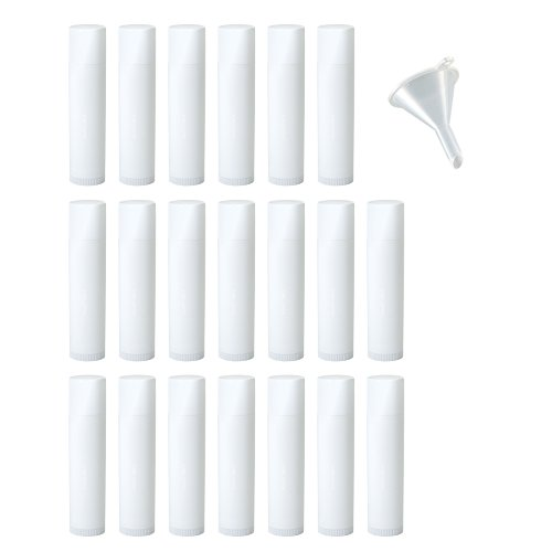 White Empty DIY Lip Balm Container Tubes (20 pack) + Funnel, 0.15 oz (Standard Size) - Twist Up Base and Cap, For lip balm, solid perfume, body balms, cuticle creams and (Standard Polypropylene Funnel)