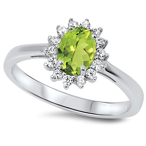 (925 Sterling Silver Faceted Natural Genuine Green Peridot Oval Flower Halo Ring Size 7)