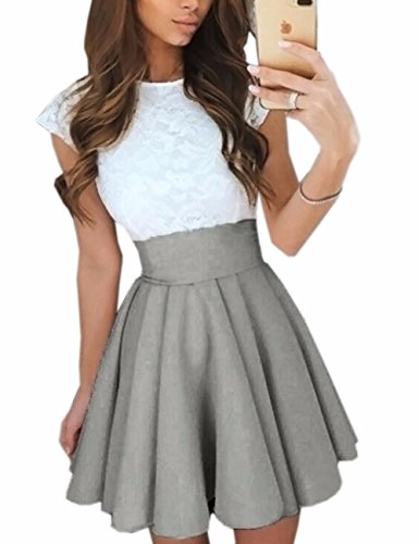 Imagine Women's Basic Solid Versatile Stretchy Flared Casual Mini Skater Skirt GY-2XL Gray