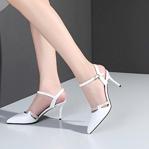 Chaussures Soirée Sandales White Robe Soirée Slingback Cour Womens De Chaussures Stiletto Toe Pointu Prom De t8Zwqxq67