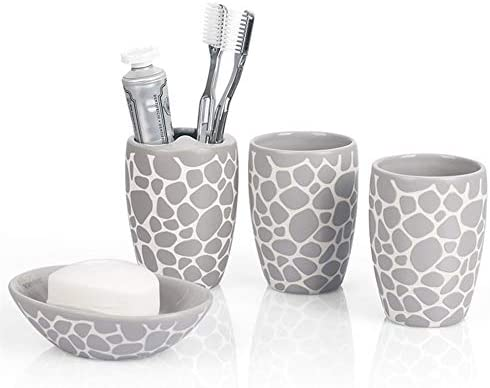 FXin バスルームアクセサリー、セラミック玉石形人格創造的なバスルーム4ピースセット家庭用洗浄キットシンプルな黒と白グレー、9色の組み合わせ シャワー室 (Color : B)