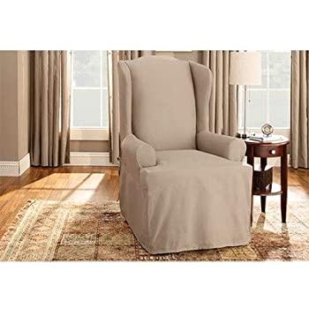 Sure Fit Duck Solid   Wing Chair Slipcover   Linen (SF27661)
