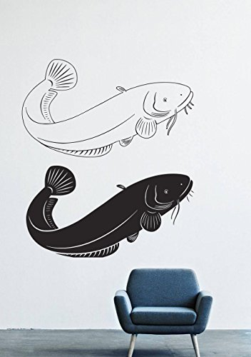Wall Decals Decor Vinyl Animal Catfish Fish Plavary Black White Water River Lake Fishing ()