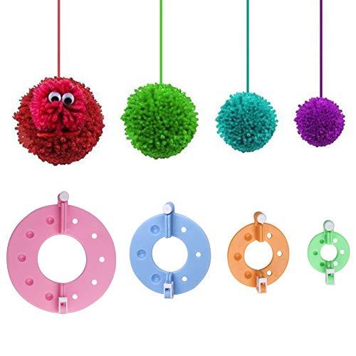 Vidillo Knitter Looms Set, 5 Size Round Knitting Looms Set Scraf Hat Maker, Plastic Round Knitting with 4 Size Pompom Maker and Knitting Needle and Hook for DIY Use by Vidillo (Image #7)