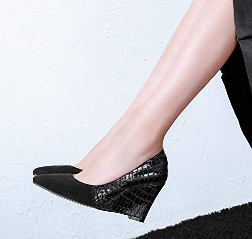 Pattern Heels Black Women Stone Size Autumn Fashion High New Large Wedge 2018 Pointed Shoes HwqS01