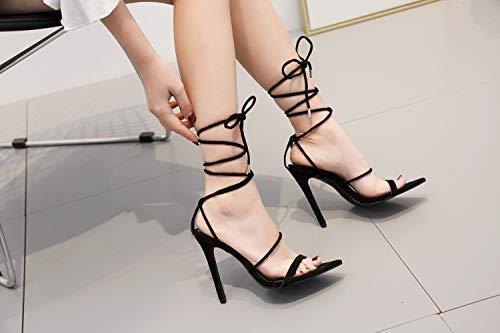 De Sandalias Correa En Black Zapatos Suede Mujer Tacón Fengjingyuan Alto Punta Sexy WaxZnHwqn