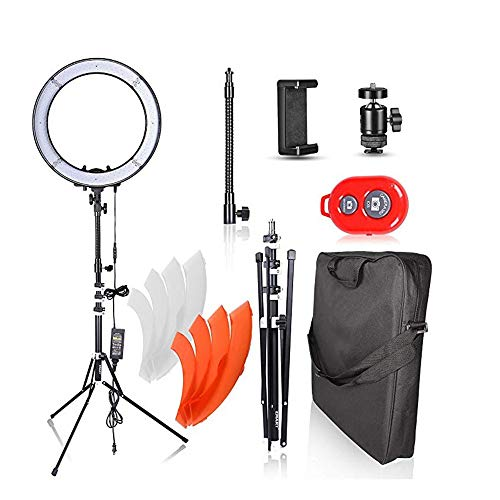 (RENYAYA LED Ring Light with Stand,18inch Outer Adjustable Color Temperature 5500K, Makeup Dimmable Video LED Light Kit, for Video Shooting, Portrait, Vlog, Selfie)
