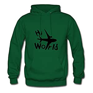 Women Hoodies Casual Hi World & Airplane Print X-large With Organic Cotton Green