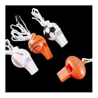 12 Sport Ball Whistle Necklaces -Sports Favors / Sports Toys Bulk: Toys & Games
