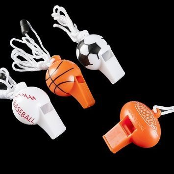 (12 Sport Ball Whistle Necklaces -Sports Favors / Sports Toys Bulk)