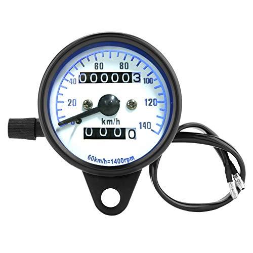 Aramox Motorcycle Speedometer,DC 12V Retro Motorcycle Dual Odometer Speedometer Tester Miles Speed Meter Gauge: