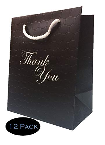 Thank You Gift Bags Bundle - Medium Black Matte Paper Retail Shopping Bag 8