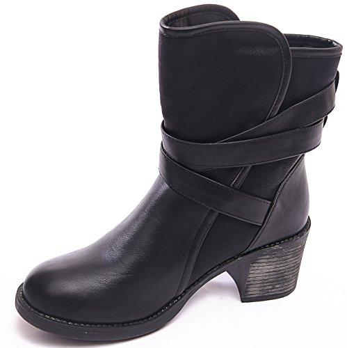 COMBAT NEW 5 WOMENS GOTH BIKER Black BLOCK 4 STRAP HEEL SIZE 7 ANKLE BOOTS BUCKLE LADIES PUNK 8 D113008 3 6 aqd5n8q