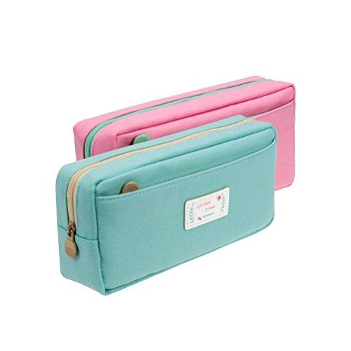 Cute Pencil Cases (Samaz Students Super Large Capacity Canvas Pencil Case Pen Bag Pouch Stationary Case Makeup Cosmetic)