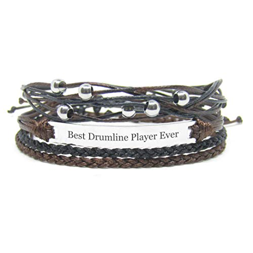 Miiras handmade friendship Bracelet for women - Best Drumline Player Ever Engraved Bracelet Set - Made of embroidery floss and Stainless Steel - Gift for Drumline Player (The Best Drumline Ever)