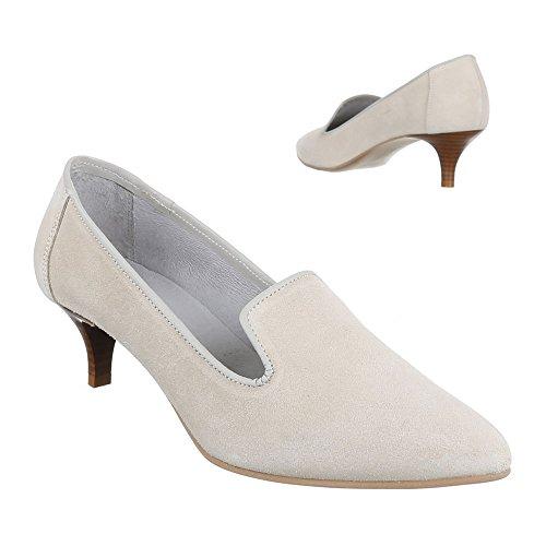 Ital-Design Wildleder Damenschuhe Business Pumps Komfort High Heels Beige