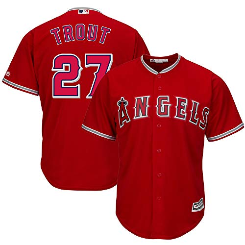 (Outerstuff Youth Kids Los Angeles Angels 27 Mike Trout Baseball Jersey (YTH 10-12 M, Red))