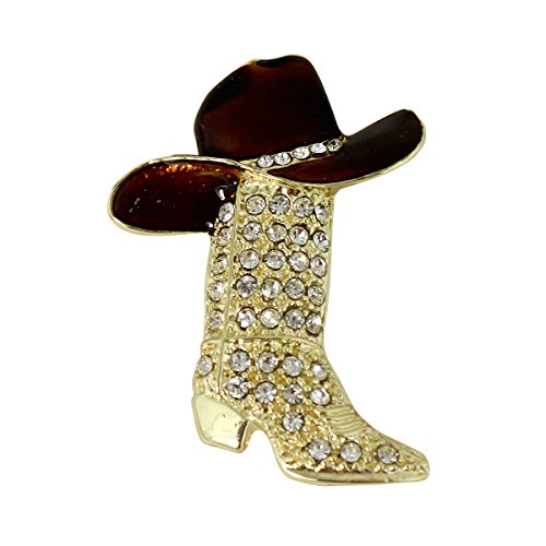Crystal Encrusted Cowboy Boot and Hat Brooch Pin or Pendant, Gold and Brown