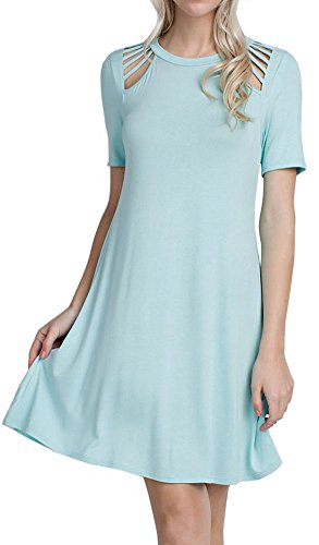 Cambridge Select Juniors Cutout Shoulder Detail Short Sleeved Swing Dress (Large, Mint)