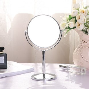 GUSTAVE Double-Sided Makeup Vanity Mirror Magnification Desk Table Stand Comestic Mirrors, Silver (Roman Pillar)