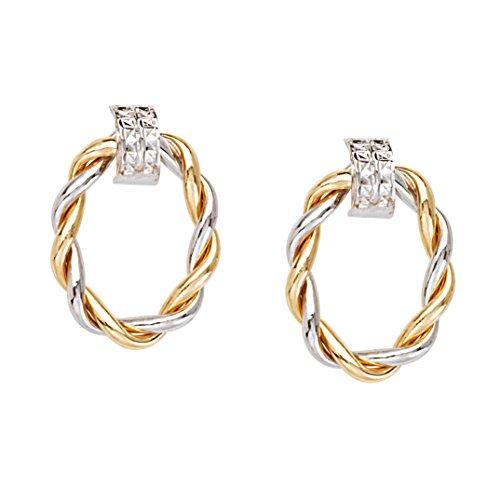 nd Yellow Gold Braided Oval Doorknocker Hoop Post Earrings ()