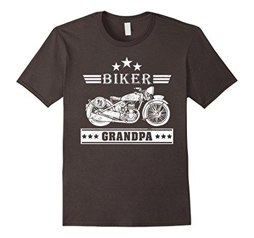 Mens Biker Grandpa Vintage Motorcycle T-Shirt Large Asphalt