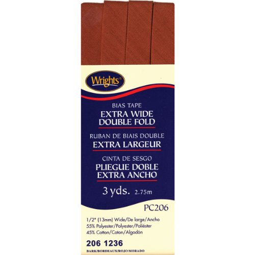 Wrights 117-206-1236 Extra Wide Double Fold Bias Tape, Ba...