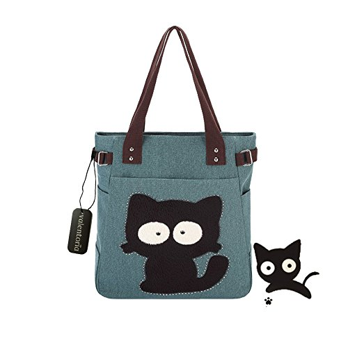Back to School Deals 2017-Valentoria® Cute Fat Cat Design Multifunction Women's Canvas Zipper Closure Handbag Shoulder Lunch Tote Bag with Large Capacity Best Gifts for Teen - Monday Cyber Deals Sunglasses