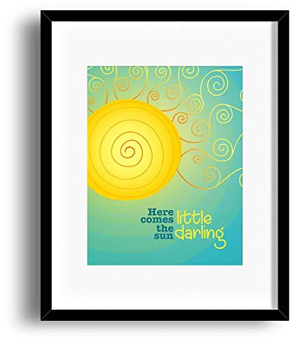 Inspired Song Lyrics Print Art - Matted and Framed Options - The Beatles - Here Comes the Sun