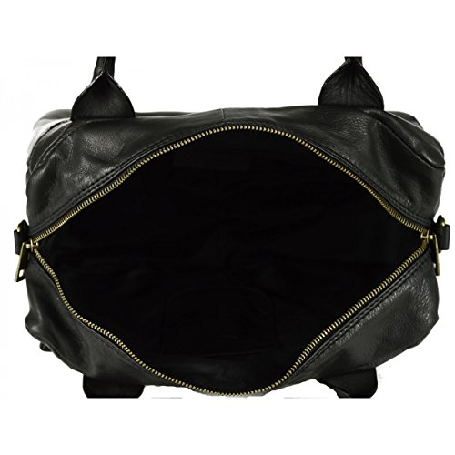 Shoulder Italy Leather Bag Color Black Tuscan Bag Made In Woman Leather Genuine zI5UwnS6