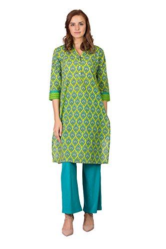 SABHYATA Women Kurta Designer Ethnic Long Dress Casual Tunic Kurti for Women Ladies Partywear Material 100% Pure Cotton Chinese Collar XX-Large P.Green by SABHYATA