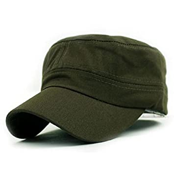 Amazon.com  Gifts For Men ! Charberry Mens Flat Top Hat Classic Plain  Vintage Army Military Cadet Style Cotton Cap Hat Adjustable (Army Green)   Baby 15a73046925