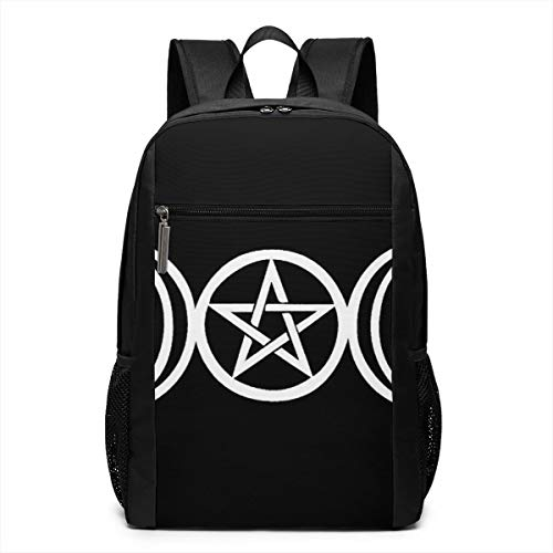 Triple Moon Pentacle Pagan Travel Bag Durable Laptop Backpack 3D Printed Teenage's School Bag Water Resistant PC Bag for Unisex Officer with Meshing Side Pockets 18x 30 X 46cm