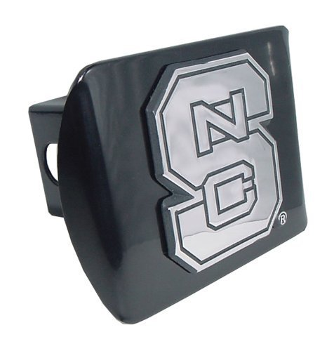 (Elektroplate North Carolina State University Black NCS Wolfpack Emblem Metal NCAA Trailer Hitch Cover Fits 2 Inch Auto Car Truck Receiver )