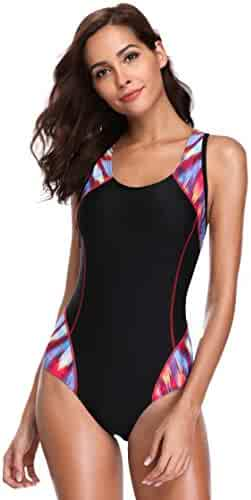 30c3419f4ba ATTRACO Womens Pro Sports Swimsuit One Piece Athletic Bathing Suit Racerback  Racing