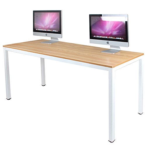 DlandHome 63 inches X-Large Computer Desk, Composite Wood Board, Decent and Steady Home Office Desk/Workstation/Table, BS1-160TW Teak and White Legs, 1 Pack