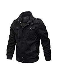 MAIERNISI JESSI Men's Casual Cotton Military Jackets Outdoor Windproof Coat