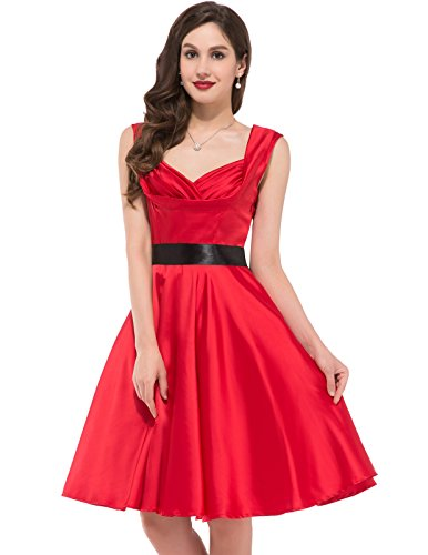 Women's Fashion Vintage Inspired Evening Prom Dress V Neck Red Size XL CL6030-2