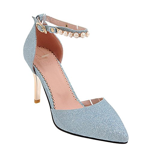 Mee Shoes Damen Stiletto ankle strap Pailletten Pumps Blau