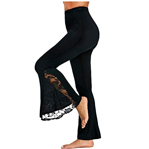 - QueenMM2019 Women High Waist Vintage Lace Flared Pants Elegant Comfy Slim Fit Dance Trousers Black