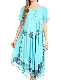 Sakkas Kai Palm Tree Caftan Tank Dress / Cover Up