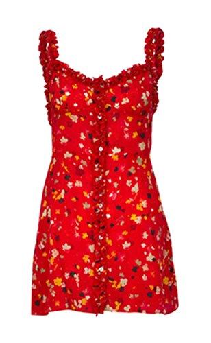Jaycargogo Dresses Single Chemises Ruffles Womens Printed Breasted 1 Retro Hwx6PO